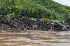 Fiskare Mekong River, Laos Royaltyfria Foton