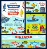 Fiskare- och fiskeriobjekt, fisk och redskap vektor illustrationer