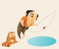 Fiskare och katt Arkivfoto