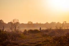 Fiskare på banken av floden under sunset_en royaltyfria bilder