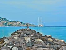 Fiskare på det Ionian havet Arkivfoton