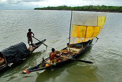 Fiskare på floden Royaltyfria Bilder