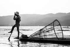 Fiskare på Inle sjön, Shan State, Myanmar Royaltyfri Bild