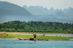 Fiskare på Li River Arkivbild