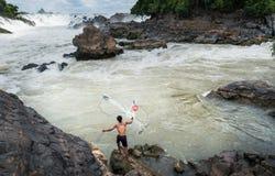 Fiskare på Mekonget River Arkivbild