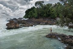 Fiskare på Mekonget River Arkivfoto