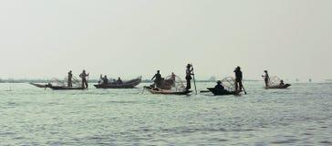 Fiskare på sjöinle Royaltyfria Foton