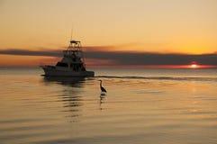 Fiskare på solnedgången Arkivfoton