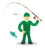 Fiskare på vit bakgrund Royaltyfri Bild