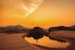 Fiskare som fiskar i det guld- ljuset för otta, Royaltyfri Bild