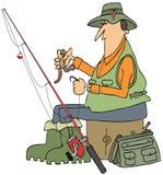 Fiskare som sätter en avmaska på en krok stock illustrationer