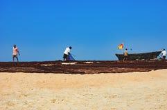 Fiskare torkade hans gamla fisher` s netto i Goa, Indien arkivbilder