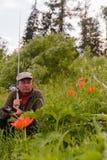 fiskare Var att gå fiska? Tunguska flod arkivbild