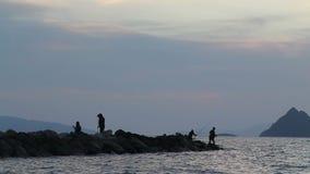 Fiskare vid havet stock video