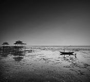 Fiskareaktivitet på att gå tillbaka kusten Fotografering för Bildbyråer
