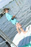 fiskarebarn arkivfoton