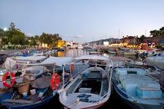 Fiskarefartyg i den Marmaris marina Turkiet Arkivbilder
