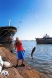 Fiskaremultefiskar Fotografering för Bildbyråer