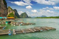 Fiskaren förtjänar i den KohPanyee bosättningen, Thailand Royaltyfri Bild