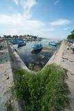 Fiskares hamnplats i den bulgariska staden av Sozopol Royaltyfria Bilder
