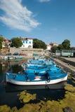Fiskares hamnplats i den bulgariska staden av Sozopol Fotografering för Bildbyråer