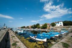 Fiskares hamnplats i Sozopol Royaltyfria Bilder