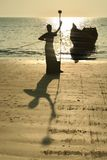 fiskaresilhouette Royaltyfri Bild