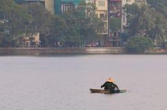 FiskareTruc Bach cityscape Hanoi Vietnam för sjö Arkivbilder