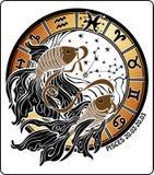 Fiskarna och zodiaktecknet. Horoskopcirkel. Vektor Vektor Illustrationer