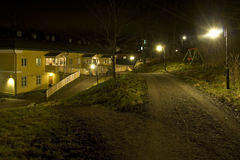 Fiskars village at night royalty free stock photography