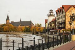 Fiskby i den Kaliningrad staden, Ryssland Arkivbilder