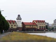 Fiskby i Kaliningrad arkivbild