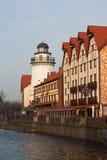 Fiskby i Kaliningrad arkivfoto