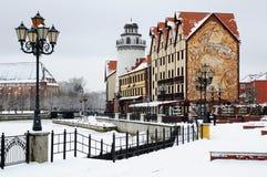 Fiskby. Kaliningrad. Ryssland arkivbilder