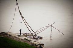 Fiske i Yangtze River Wuhan Hubei landskapporslin royaltyfri fotografi