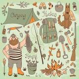 Fiske jakt, campa uppsättning stock illustrationer