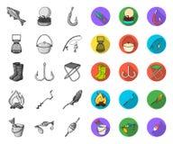 Fiske och att vila mono plana symboler i den fastställda samlingen för design Redskap f?r att fiska illustrationen f?r reng?rings royaltyfri illustrationer
