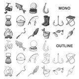 Fiske och att vila monochromsymboler i den fastställda samlingen för design Redskap för att fiska illustrationen för rengöringsdu royaltyfri illustrationer