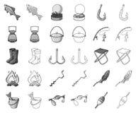 Fiske och att vila monokrom, översiktssymboler i den fastställda samlingen för design Redskap för att fiska rengöringsduk för vek vektor illustrationer