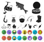 Fiske och att vila svarta plana symboler i den fastställda samlingen för design Redskap för att fiska illustrationen för rengörin stock illustrationer