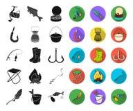 Fiske och att vila svarta plana symboler i den fastställda samlingen för design Redskap för att fiska illustrationen för rengörin vektor illustrationer