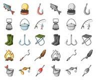 Fiske och att vila tecknade filmen, mono symboler i den fastställda samlingen för design Redskap för att fiska rengöringsduk för  stock illustrationer