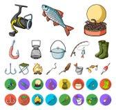 Fiske och att vila tecknade filmen, plana symboler i den fastställda samlingen för design Redskap för att fiska rengöringsduk för stock illustrationer