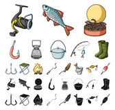 Fiske och att vila tecknade filmen, svarta symboler i den fastställda samlingen för design Redskap för att fiska rengöringsduk fö vektor illustrationer