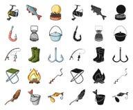 Fiske och att vila tecknade filmen, svarta symboler i den fastställda samlingen för design Redskap för att fiska rengöringsduk fö stock illustrationer