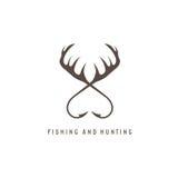 Fiske- och jaktillustration med hjorthorn och fiske Arkivfoton