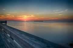 Fiske Pier Sunset Fotografering för Bildbyråer