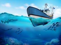 Fiskebåt i hav illustration 3d royaltyfria foton