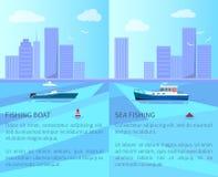Fiskebåt i havet med Cityscape på horisont vektor illustrationer