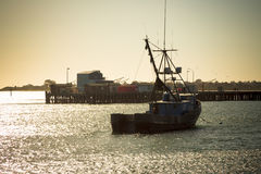Fiskebåt i port i Kalifornien Royaltyfria Bilder